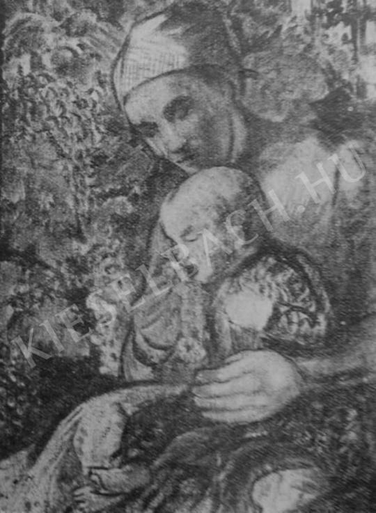 Kernstok Károly - Szölőevő (Parasztmenyecske gyermekével), 1907 festménye