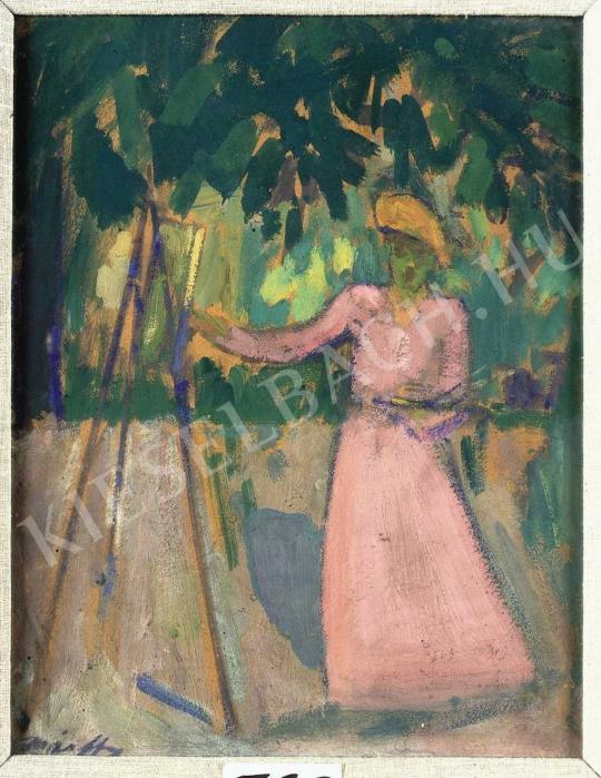 Márffy Ödön - Festőnő a szabadban, 1907 körül festménye