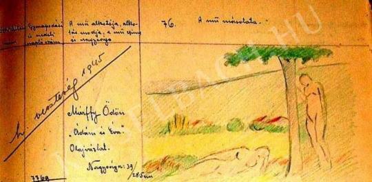 Márffy Ödön - Kettős akt (Ádám és Éva), 1909 körül (Kovács Józsi Jenő rajzmásolata) festménye