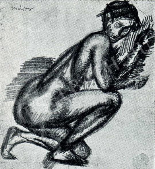 Márffy Ödön - Női akt (féltérden kuporogva), 1911 festménye