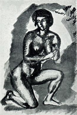 Márffy Ödön - Női akt (féltérden állva), 1911