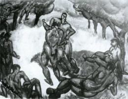 Tihanyi Lajos - Birkózók (1909)