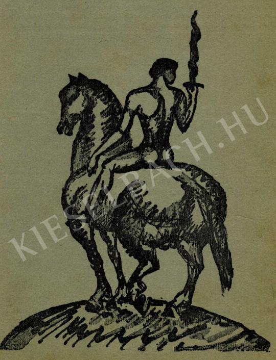 Kernstok Károly - Lángkardos lovas, 1911 előtt festménye