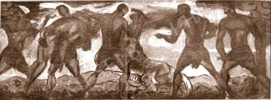 Kernstok Károly - Ősvadászok (vázlat), 1912 festménye
