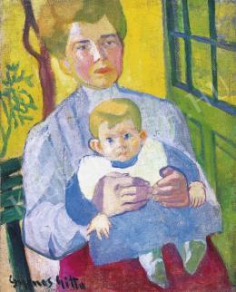 Gyenes Gitta - Anya gyermekével, 1910 körül