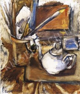 Czóbel Béla - Műtermi csendélet teáskannával, 1920-as évek