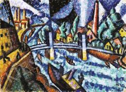 Pál István - Városkép híddal, 1920-as évek