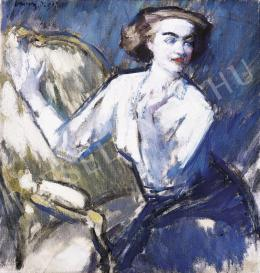 Vaszary János - Fehérblúzos nő fotelben (1917)
