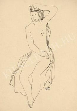 Kádár Béla - Haját simító női akt