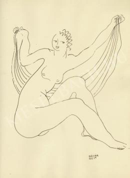 Kádár Béla - Női akt drapériával