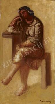 Barcsay Jenő - Ülő gondolkodó (Freskóterv), 1957 festménye