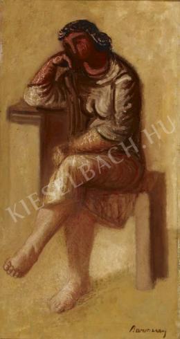 Barcsay Jenő - Ülő gondolkodó (Freskóterv), 1957