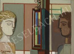 Barcsay Jenő - Két fej festőállvánnyal, 1961