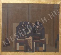 Barcsay Jenő - Páholyban, 1969 (Szentendrei mozaik tervrészlet)