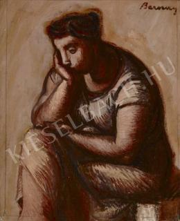 Barcsay Jenő - Ülő gondolkodó (Könyöklő, Gondolkodó), 1957