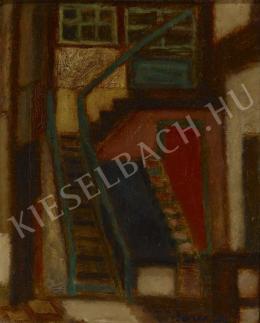 Barcsay Jenő - Lépcsőfeljárat (Ház lépcsőfeljárattal), 1956