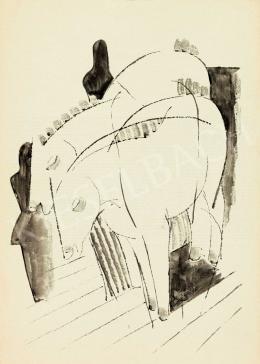 Kádár Béla - Lovak figurákkal