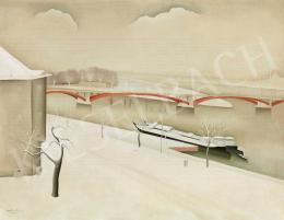 Basilides Barna - Téli Budapest háttérben a Margit híddal (1948)