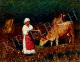 Koszta József - Mezőn (Asszony tehénnel)