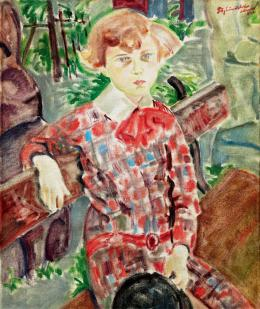 Biai-Föglein, István - Little boy in Checked Dress, (1926)