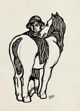 Kádár Béla - Kalapos fiú lóval