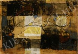 Gyarmathy Tihamér - Kompozíció fekvő alakkal (1969)