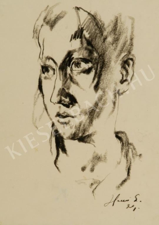 Holló László - Fiatal fiú arcképe festménye