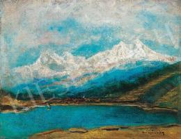 Mednyánszky László - Tó, háttérben havas hegycsúcsokkal