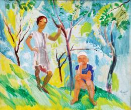 Szőnyi István - Tavaszi kertben (Lányom és fiam)