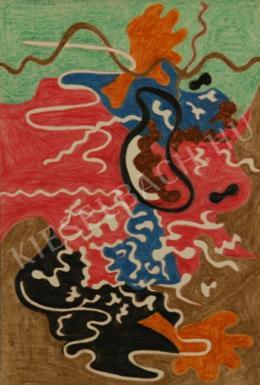 Zemplényi Magda - Fekete zöld kompozíció narancssárga motívummal (1947)