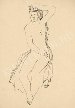 Kádár, Béla - Female Nude Smoothing her Hair