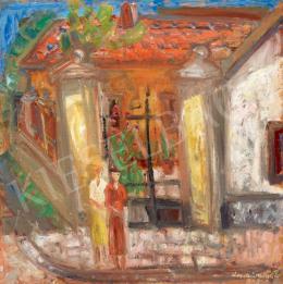 Ilosvai Varga István - Lányok a kapu előtt (Szentendre)