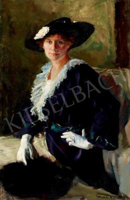 Frank Frigyes - Kalapos nő fehér kesztyűben