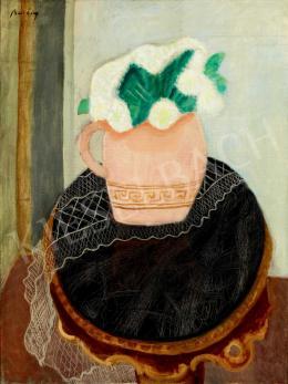 Berény Róbert - Terrakotta vázamárványasztalon (Csendélet fehér virágokkal)