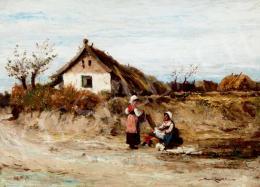Bruck, Lajos - Village Scene with Girls