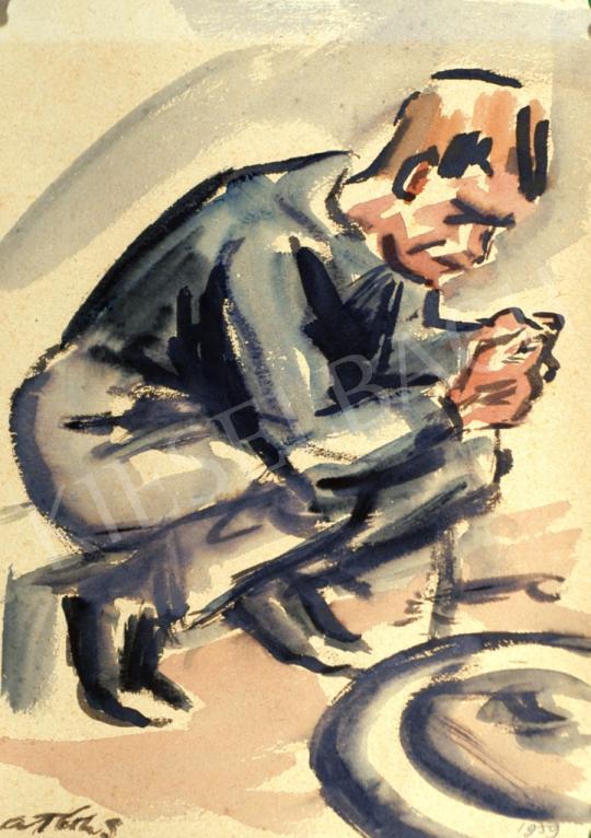 A. Tóth, Sándor - Man in Blue painting