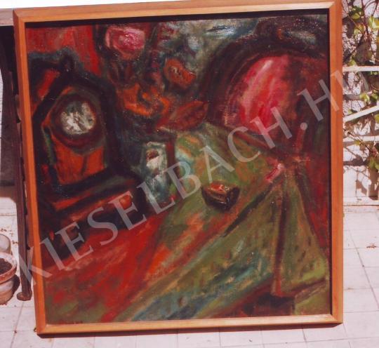 Ámos, Imre - Still-life with clock painting
