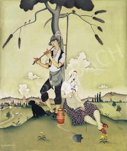 Basilides Barna - Szerelmespár furulyával és virággal