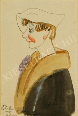 Barta István - Nő art deco kalapban (1920)