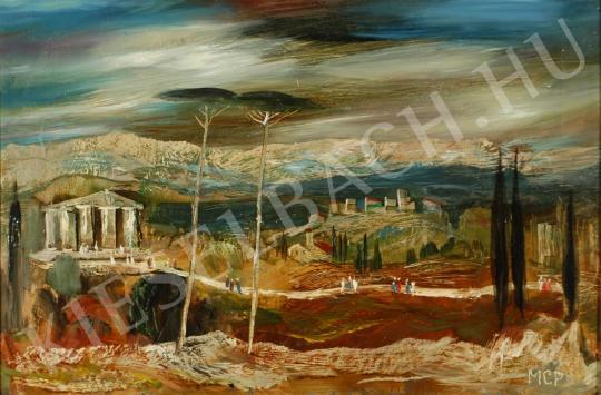 Molnár C. Pál - Itáliai táj (Antik romok) festménye