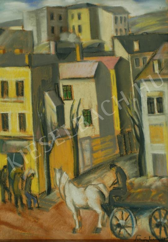 Schönberger, Armand - Cityscape with horse-drawn carrriage painting