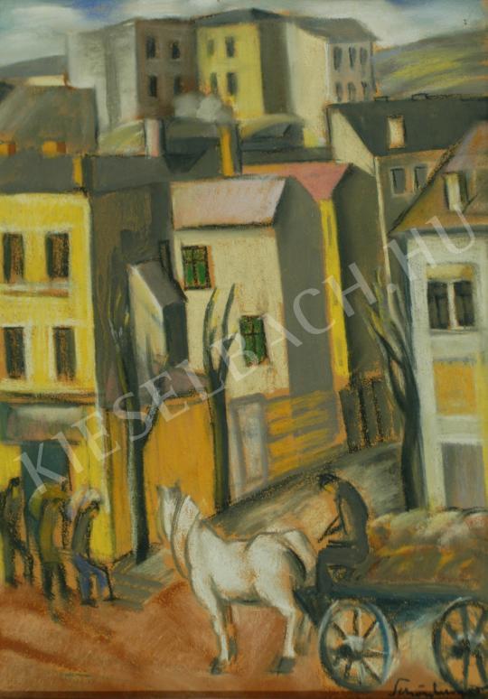 Schönberger Armand - Városi részlet lovaskocsival festménye