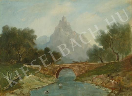 Molnár C. Pál - Várkastély a sziklán (Itáliai táj) festménye