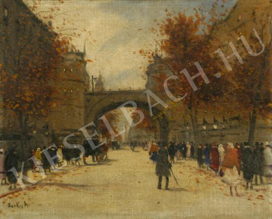 Berkes Antal - Nagyvárosi részlet (Utcán sétálók) festménye