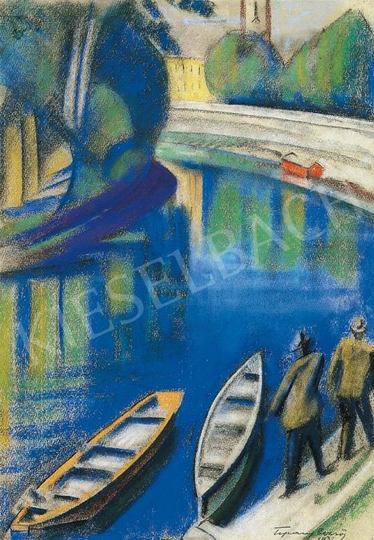 Tipary Dezső - Folyópart piros csónakházzal | 17. Aukció aukció / 74 tétel