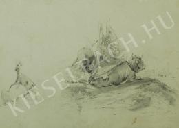 Mednyánszky László - Marha-tanulmány (1860 körül)