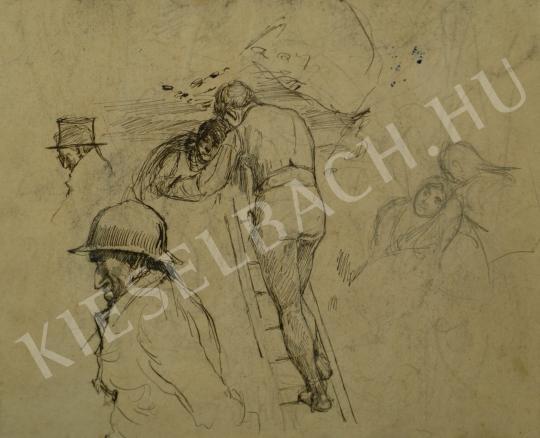 Mednyánszky László - Randevú (Létrára mászó) festménye