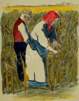 Koszta, József - Husking corn (1930s)