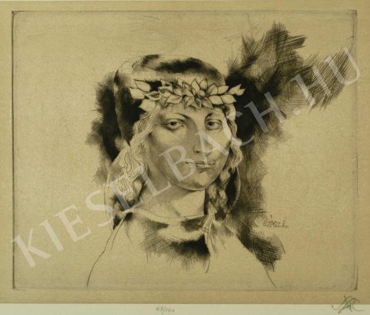 Szász Endre - Fiatal nő babérkoszorúval festménye