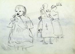 Nyilasy Sándor - Kislány és két álló nőalak tanulmány (1910 körül)
